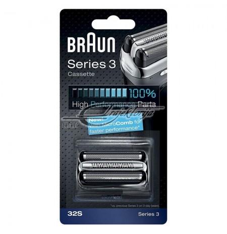 Tinkliukas + peilių blokas BRAUN Combi Pack 32S silver