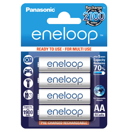 Eneloop Ready To Use Rechargeable Battery 4x AA BK-3MCCE-4BE (1900mAh)
