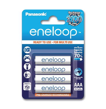 Eneloop Ready To Use Rechargeable Battery 4x AAA BK-4MCCE-4BE (800mAh)/ Recharge 2100 Times