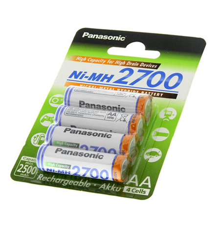 Panasonic Rechargeable Battery 4x AA BK-3HGAE (2700mAh)