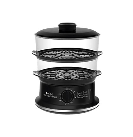 TEFAL VC1401 Food Steamer, Capacity 6L, 2 containers, Mechanical timer, Water level indicator, Power 900W, Black