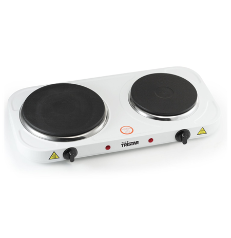 Tristar KP-6245 Hot plate, 2 thermostats, 2 burners, 5 adjustable settings, Heat resisting housing, 1500W&1100W, White