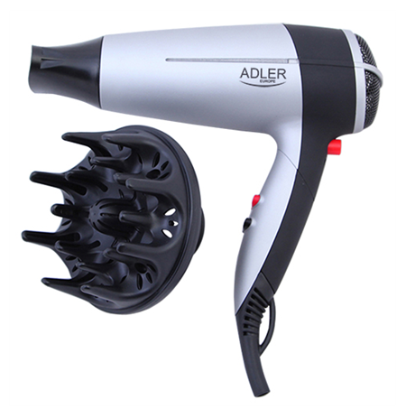 """Adler AD 2239 Hair dryer, 2000W, 2 speed settings, Concentrator & diffusor, """"Cool shot"""" button"""